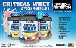 APPLIED NUTRITION Critical Whey tejsavófehérje izolátum és koncentrátum keverék fehérje Gluténmentes 900g (2x450g)