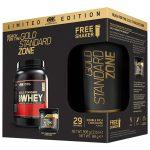 Limitál ON Gold Standard Zone Csomag: Optimum Nutrition 100% Whey Gold Standard fehérje 908g+ON Pre-Workout 88g+Limitált Optimum Nutrition Shaker
